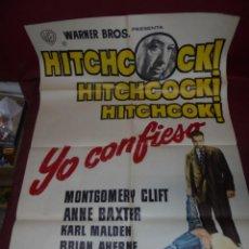 Cine: MAGNIFICO CARTEL DE CINE ORIGINAL DE EPOCA,YO CONFIESO DE HITCHCOCK,SALIDA 1 EURO. Lote 151914170