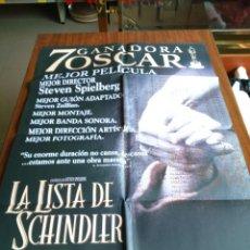 Cine: POSTER -- LA LISTA DE SCHINDLER -- POSTER GRANDE -- ORIGINALES DE CINE -- . Lote 151974542