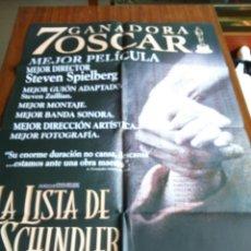 Cine: POSTER -- LA LISTA DE SCHINDLER -- POSTER GRANDE -- ORIGINALES DE CINE -- . Lote 151974654