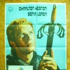 Cine: CARTEL DE CINE PELICULA EL CID, ORIGINAL DEL AÑO 1977 CHARLTON HESTON SOFIA LOREN. Lote 152171314