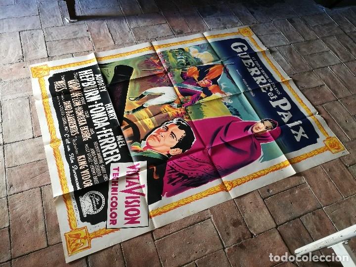Cine: cartel poster dificil y raro estreno GUERRA Y PAZ guerre et paix, FRANCIA GRAN TAMAÑO-ORIGINAL 1956 - Foto 2 - 152460842