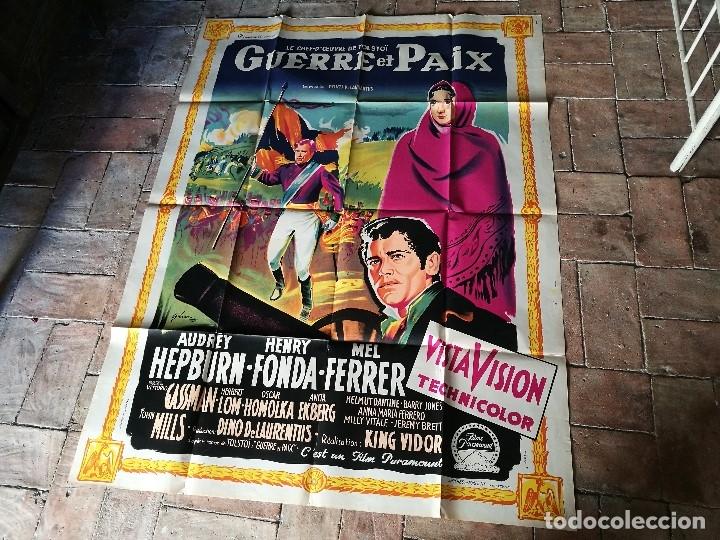Cine: cartel poster dificil y raro estreno GUERRA Y PAZ guerre et paix, FRANCIA GRAN TAMAÑO-ORIGINAL 1956 - Foto 3 - 152460842