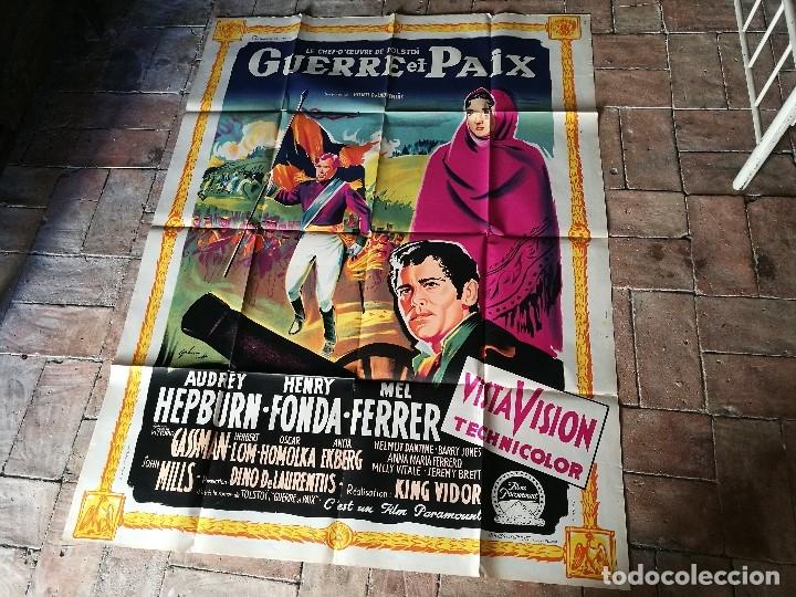 Cine: cartel poster dificil y raro estreno GUERRA Y PAZ guerre et paix, FRANCIA GRAN TAMAÑO-ORIGINAL 1956 - Foto 4 - 152460842