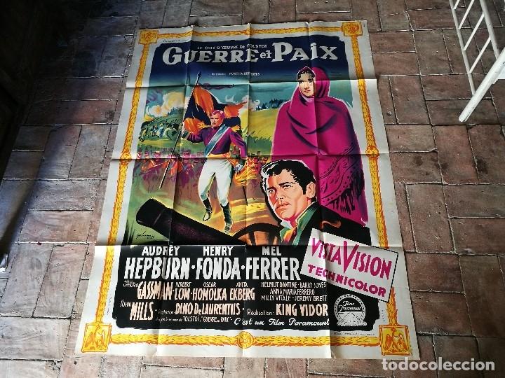 Cine: cartel poster dificil y raro estreno GUERRA Y PAZ guerre et paix, FRANCIA GRAN TAMAÑO-ORIGINAL 1956 - Foto 18 - 152460842