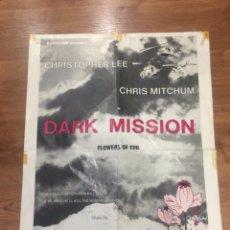 Cine: CARTEL ORIGINAL SALA EUROCINE PARIS DARK MISSION FLOWRS OF DEVIL DE CHRISTOFER LEE. Lote 153145953