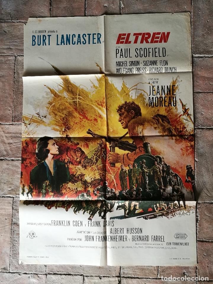 EL TREN BURT LANCASTER JEANNE MOREAU- POSTER ORIGINAL 70X100- (Cine - Posters y Carteles - Bélicas)
