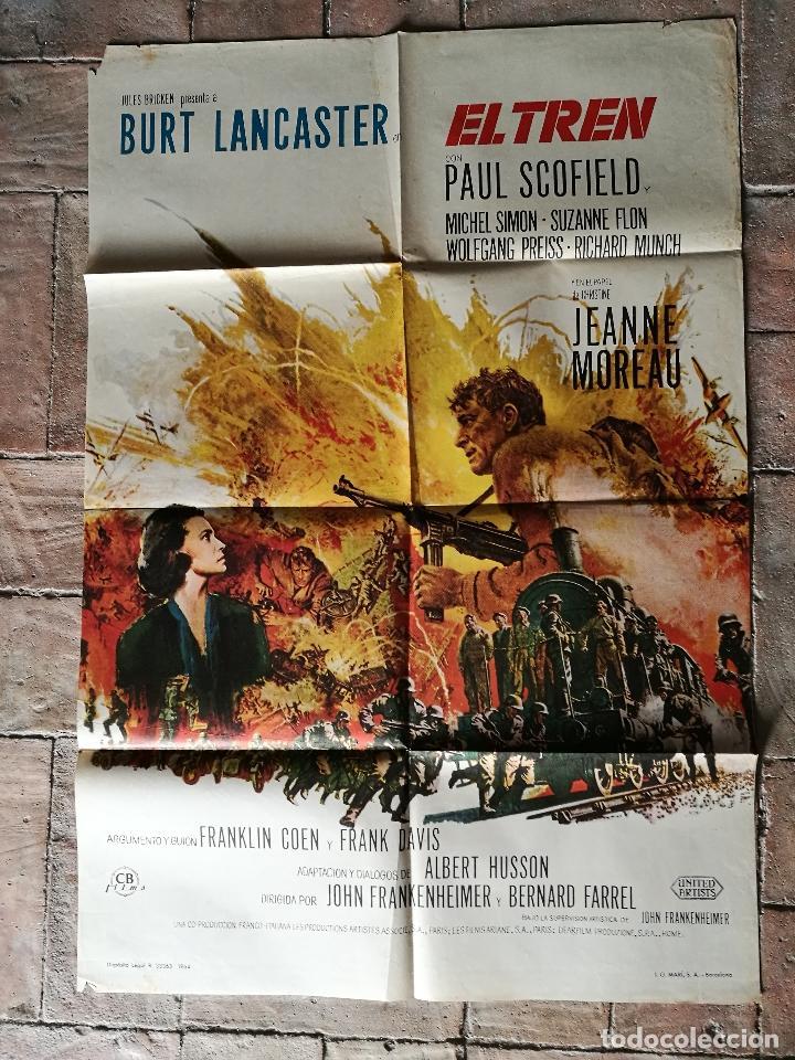 Cine: EL TREN BURT LANCASTER JEANNE MOREAU- POSTER ORIGINAL 70X100- - Foto 6 - 153581558
