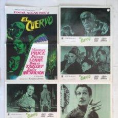 Cine: EL CUERVO - EDGAR ALLAN POE ROGER CORMAN - COLECCION 5 FOTOCROMOS Y POSTER VINCENT PRICE. Lote 153701726