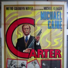 Cine: ZF58D ASESINO IMPLACABLE GET CARTER MICHAEL CAINE POSTER ORIGINAL ITALIANO 140X200. Lote 153713374