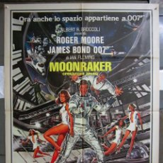 Cine: QT27D MOONRAKER JAMES BOND 007 ROGER MOORE POSTER ORIGINAL 100X140 ITALIANO. Lote 194506492