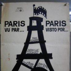 Cine: ZG87 PARIS VISTO POR... CHABROL GODARD ROHMER MAQUETA DIBUJO CARTEL ORIGINAL MAC. Lote 153816130