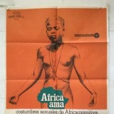 Cinema: AFRICA AMA - POSTER CARTEL ORIGINAL ALFREDO CASTIGLIONI ANGELO CASTIGLIONI GUIDO GUERRASIO O PELLINI. Lote 154162470
