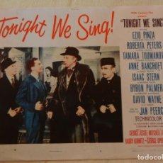 Cine: AFICHE DE CINE. PELÍCULA TONIGHT WE SING!. MEDIDAS 36X28CM. Lote 154810098