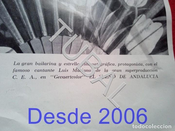 Cine: TUBAL CARTEL CARMEN SEVILLA PELICULA EL SUEÑO DE ANDALUCIA UNOS 40 CMS - Foto 2 - 154873386