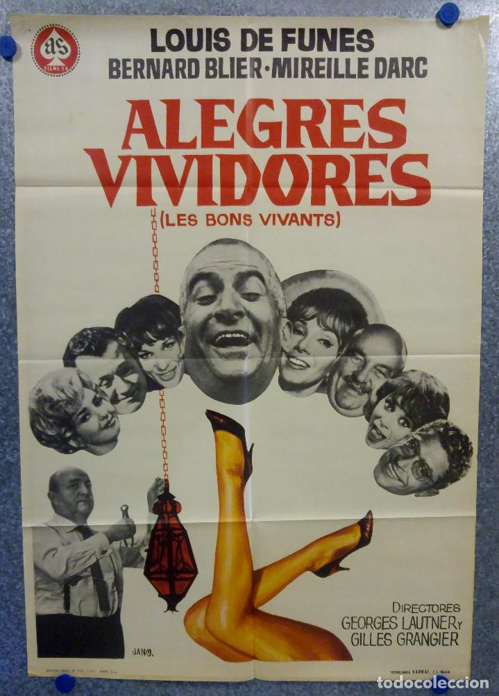ALEGRES VIVIDORES. LOUIS DE FUNÈS, BERNARD BLIER, MIREILLE DARC. AÑO 1970. POSTER ORIGINAL (Cine - Posters y Carteles - Comedia)