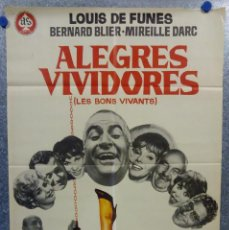 Cine: ALEGRES VIVIDORES. LOUIS DE FUNÈS, BERNARD BLIER, MIREILLE DARC. AÑO 1970. POSTER ORIGINAL. Lote 194274972