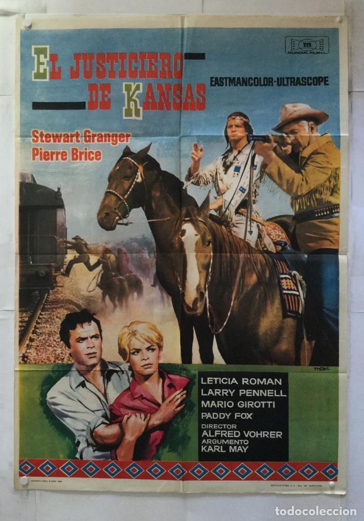 EL JUSTICIERO DE KANSAS - POSTER CARTEL ORIGINAL - STEWART GRANGER PIERRE BRICE KARL MAY MAC (Cine - Posters y Carteles - Westerns)