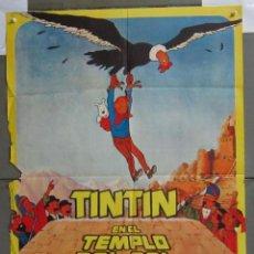 Cine: ZJ95 TINTIN EN EL TEMPLO DEL SOL HERGE POSTER ORIGINAL 70X100 ESTRENO. Lote 155271122