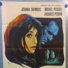 Cine: LA INVITADA. JOANNA SHIMKUS, MICHEL PICCOLI, JACQUES PERRIN. AÑO 1970 POSTER ORIGINAL. Lote 155335702