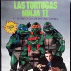 Cine: POSTER DE LA PELÍCULA LAS TORTUGAS NINJA II EL SECRETO DE LOS MOCOS VERDES - 48 X 34 CMS.. Lote 155356090