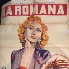 Cine: CARTEL LA ROMANA. GINA LOLLOBRIGIDA. OBRA DE TEATRO DE ALBERTO MORAVIA. 93 CM ALTO X 66.5 CM ANCHO. Lote 155579554