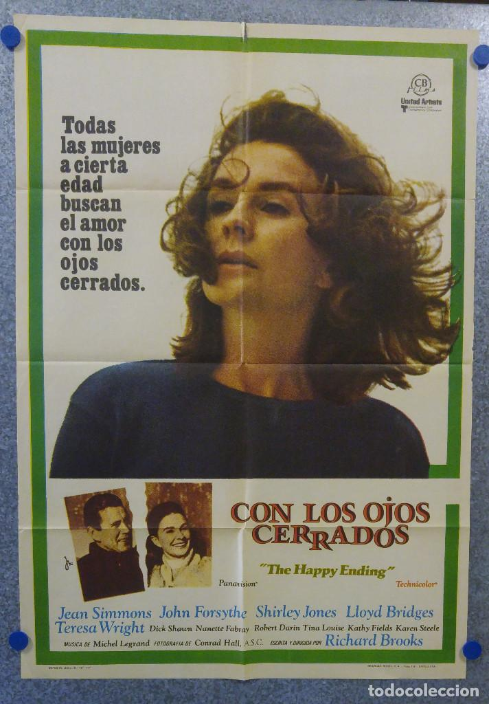 CON LOS OJOS CERRADOS. JEAN SIMMONS, JOHN FORSYTHE, LLOYD BRIDGES. AÑO 1971. POSTER ORIGINAL (Cine- Posters y Carteles - Drama)