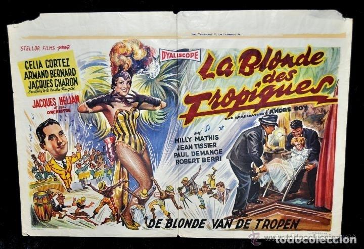 POSTER ORIGINAL DE 1957, LA BLONDE DES TROPIQUES, CELIA CORTEZ, ARMAND BERNARD, ETC (Cine - Posters y Carteles - Musicales)