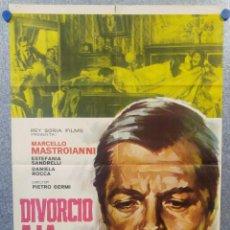 Cine: DIVORCIO A LA ITALIANA. MARCELLO MASTROIANNI, DANIELA ROCCA, STEFANIA SANDRELLI 1966 POSTER ORIGINAL. Lote 156873250