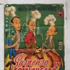 Cine: SUSPENSO EN COMUNISMO - POSTER CARTEL ORIGINAL ESTRENO JUANJO MENENDEZ ALFREDO MAYO JULIA CABA ALBA. Lote 156887150