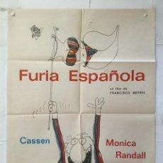 Cine: FURIA ESPAÑOLA - POSTER CARTEL ORIGINAL - CASSEN MONICA RANDALL PERICH FUTBOL FRANCISCO BETRIU RARO. Lote 157007738