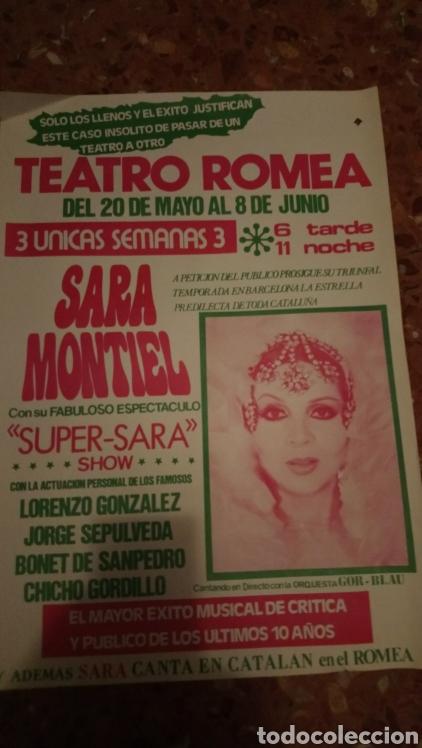 CARTEL ORIGINAL TEATRO SARA MONTIEL 33.X 50 (Cine - Posters y Carteles - Clasico Español)