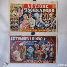 Cine: DOS CARTELES LITOGRAFICOS - LA TUMBA INDIA Y EL TIGRE DE ESNAPOUR. Lote 158647826