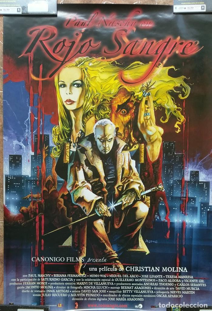 ROJO SANGRE CARTEL ORIGINAL 100X70 CM DE CHRISTIAN MOLINA CON PAUL NASCHY (Cine - Posters y Carteles - Terror)