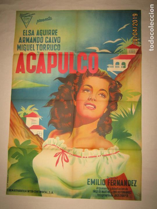ANTIGUO CARTEL EN LITOGRAFÍA DE LA PELÍCULA ACAPULCO CON ELSA AGUIRRE - LITOGRAFIA MIRABET VALENCIA (Cine - Posters y Carteles - Clasico Español)
