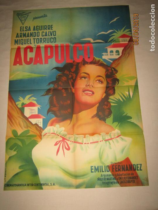 Cine: Antiguo Cartel en Litografía de la Película ACAPULCO con Elsa Aguirre - Litografia MIRABET Valencia - Foto 3 - 159106826