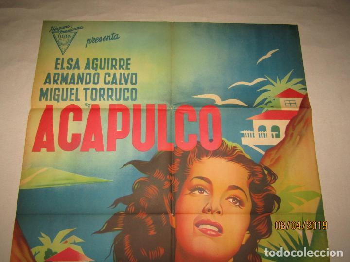 Cine: Antiguo Cartel en Litografía de la Película ACAPULCO con Elsa Aguirre - Litografia MIRABET Valencia - Foto 4 - 159106826