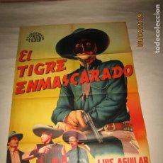 Cine: ANTIGUO CARTEL LITOGRAFÍA EL TIGRE ENMASCARADO CON LUIS AGUILAR - LITOGRAFIADO MIRABET VALENCIA. Lote 159241510