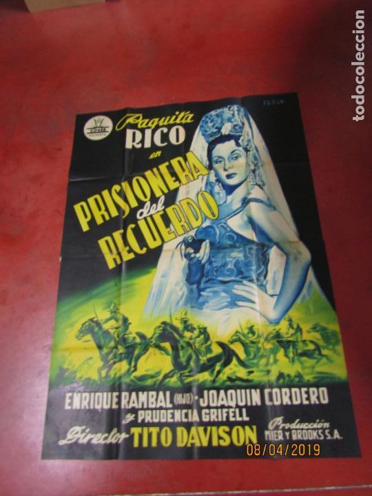 Cine: Antiguo Cartel Litografía Gigante PRISIONERA DEL RECUERDO con Paquita Rico - PERIS ARAGÓ - Foto 3 - 159245130
