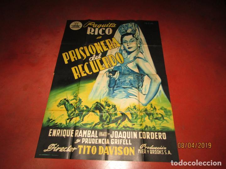 Cine: Antiguo Cartel Litografía Gigante PRISIONERA DEL RECUERDO con Paquita Rico - PERIS ARAGÓ - Foto 4 - 159245130
