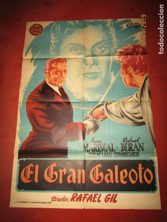ANTIGUO CARTEL EN LITOGRAFÍA EL GRAN GALEOTO CON ANA MARISCAL - LITOGRAFIA MIRABET EN VALENCIA (Cine - Posters y Carteles - Clasico Español)