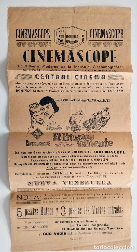 CARTEL LOCAL CENTRAL CINEMA DE SAX (ALICANTE) - EL PRINCIPE VALIENTE AÑO 1955 - ESTRENO CINEMASCOPE (Cine - Posters y Carteles - Acción)