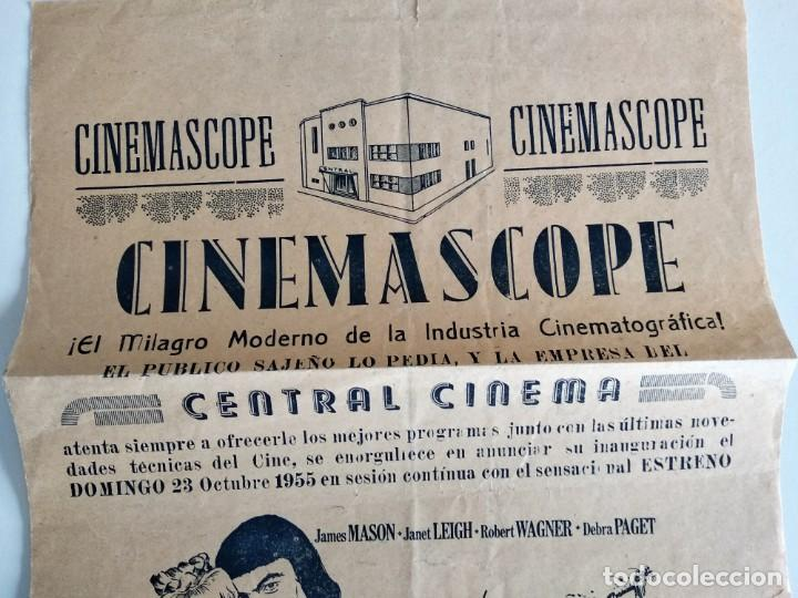 Cine: CARTEL LOCAL CENTRAL CINEMA DE SAX (ALICANTE) - EL PRINCIPE VALIENTE AÑO 1955 - ESTRENO CINEMASCOPE - Foto 2 - 159789026