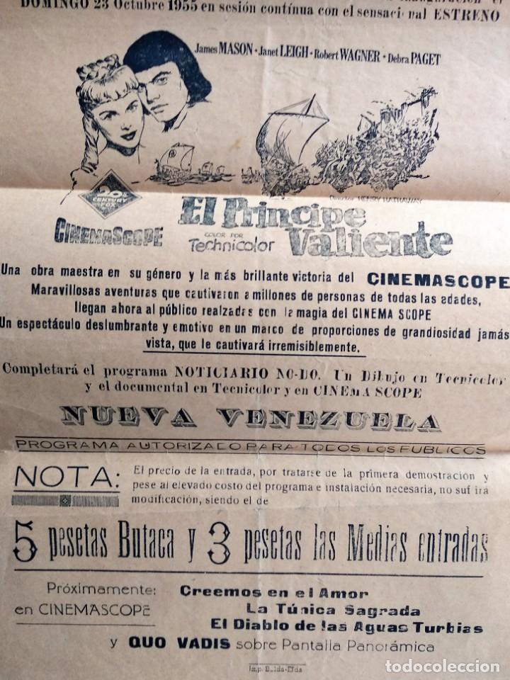 Cine: CARTEL LOCAL CENTRAL CINEMA DE SAX (ALICANTE) - EL PRINCIPE VALIENTE AÑO 1955 - ESTRENO CINEMASCOPE - Foto 3 - 159789026