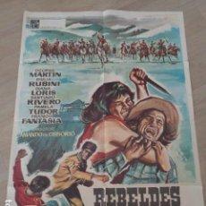 Cine: REBELDES EN CANADÁ. ARMANDO DE OSSORIO. 100 X 70 CMS, APROX. ILUSTRACIÓN HERMIDA. Lote 159888726