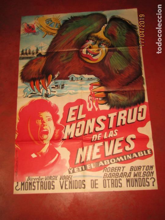 ANTIGUO CARTEL EN LITOGRAFÍA EL MONSTRUO DE LAS NIEVES - LITOGRAFIA MIRABET EN VALENCIA (Cine - Posters y Carteles - Terror)