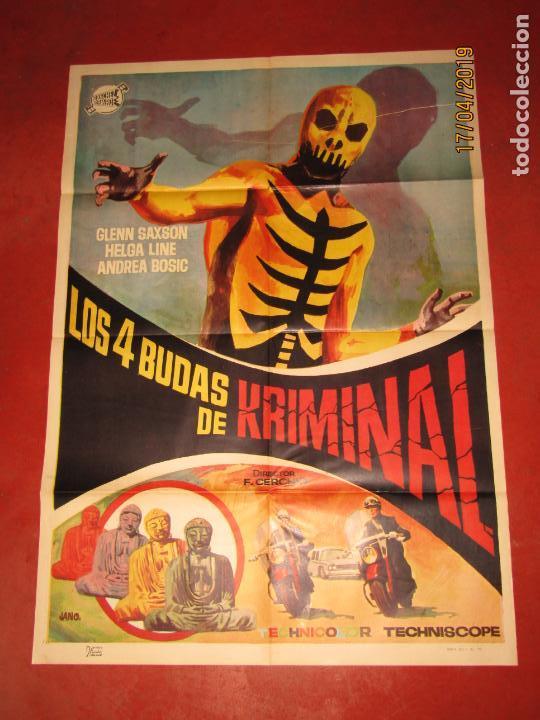 CARTEL ESTRENO LOS 4 BUDAS DE KRIMINAL DIBUJANTE JANO POR LITOGRAFIA MIRABET EN VALENCIA (Cine - Posters y Carteles - Aventura)