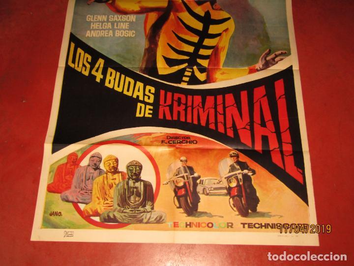 Cine: Cartel Estreno LOS 4 BUDAS DE KRIMINAL Dibujante JANO por Litografia MIRABET en Valencia - Foto 3 - 160450698
