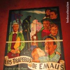 Cine: CARTEL GIGANTE ESTRENO LOS TRAPEROS DE EMAUS - LITOGRAFIADO MIRABET EN VALENCIA. Lote 160451682