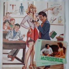 Cine: CARTEL CINE, LA PROFESORA DE EDUCACION SEXUAL, LINO BANFI, JANO , + 12 FOTOCROMOS. Lote 160473838