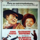 Cine: EL RIFLE Y LA BIBLIA. JOHN WAYNE-KATHERINE HEPBURN. CARTEL ORIGINAL 1976. 100X70. Lote 160611818